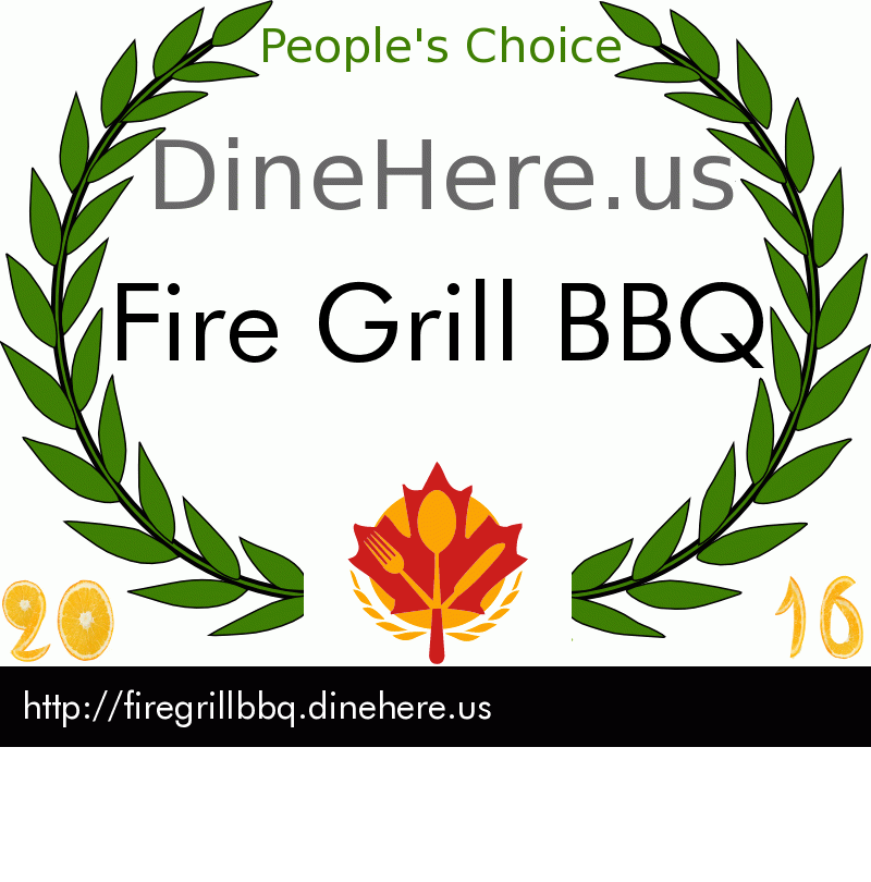 Fire Grill BBQ DineHere.us 2016 Award Winner